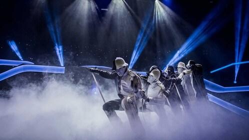 Jabbawockeez dance crew utilizes stunning high-tech visuals to entertain the crowd