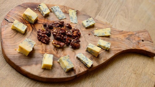 Cheese and nut platter on the food tour of London's artsy East End