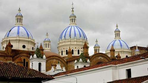 Blue and white domes of the New Cathedral of Cuenca