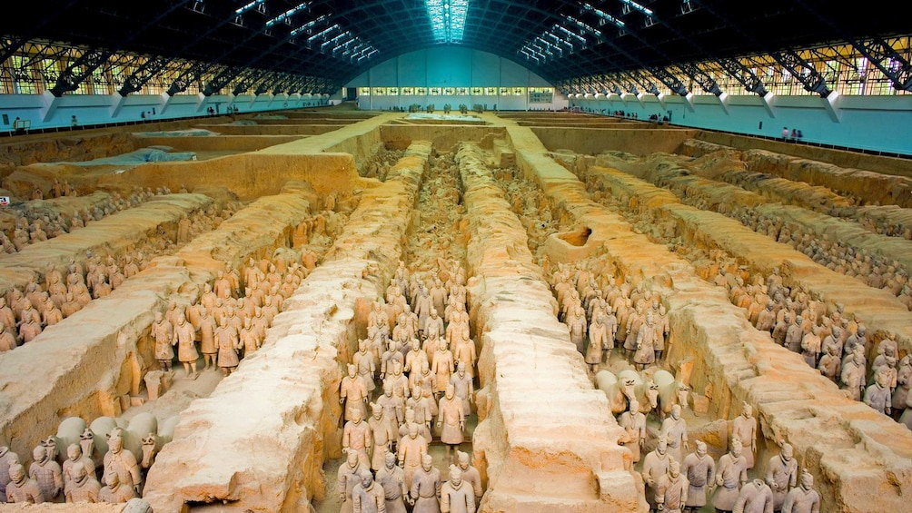 Show item 3 of 5. Terracotta army under cover