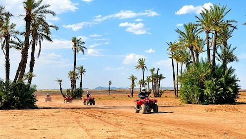 group of quad bike riders in the desert in Morocco