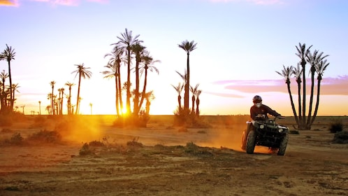 quad bike kicking up dust behind in Morocco