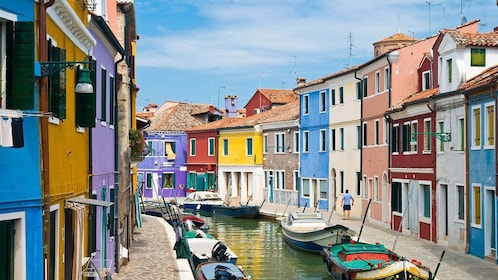 Venetian canal with multi-colored buildings