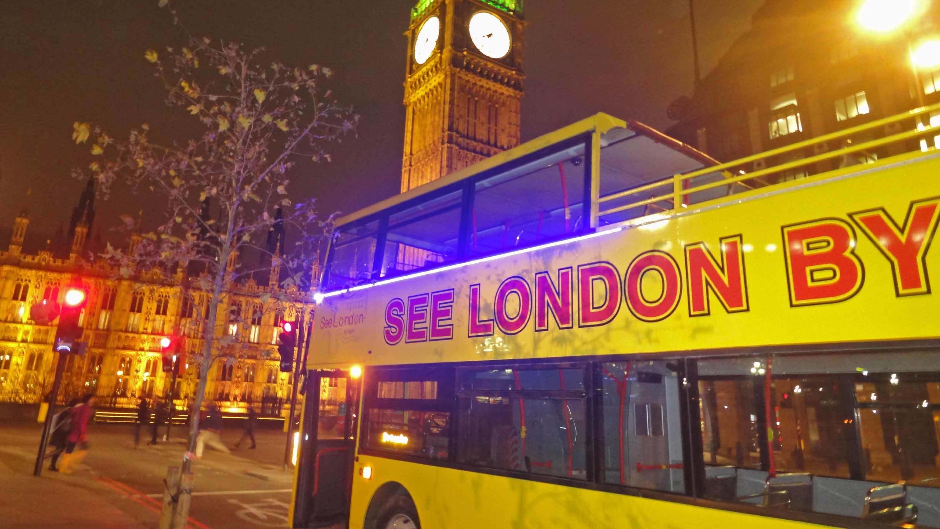 Tour bus near big ben in London