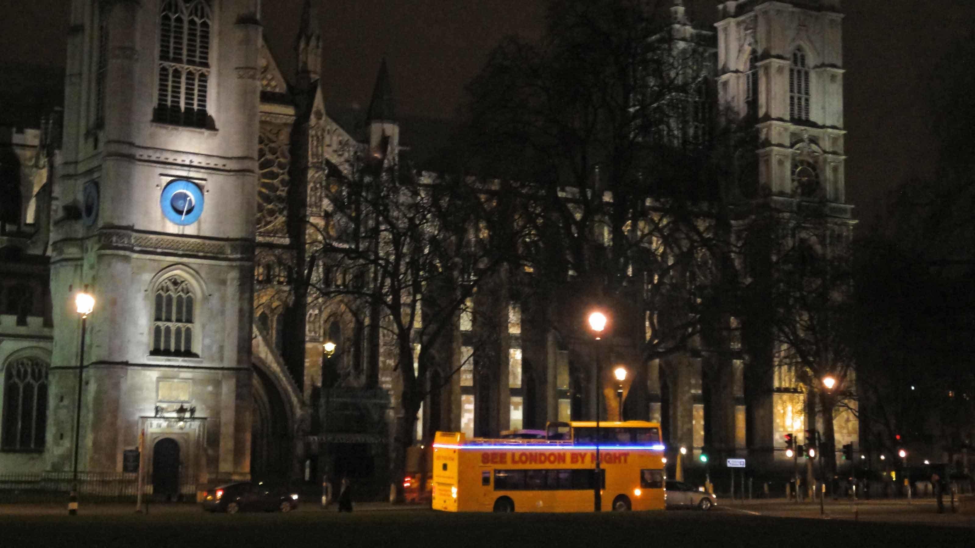 Yellow tour bus in London