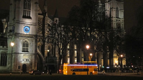 Yellow tour bus in London