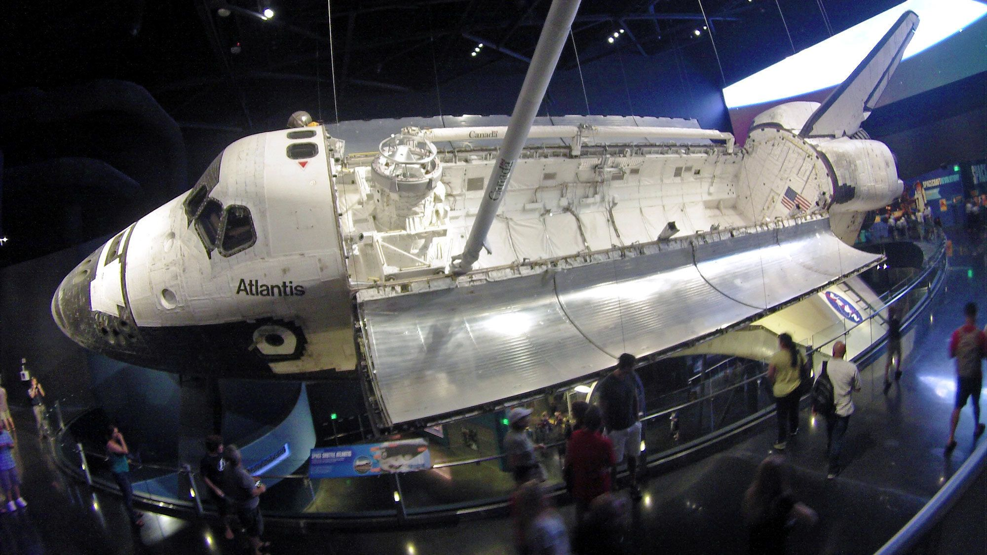 suspended space shuttle at the center in Miami