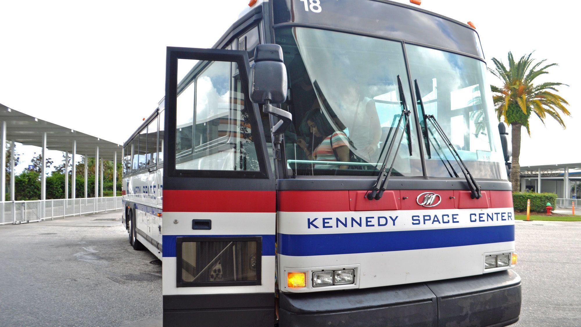 space center bus with door open in Miami