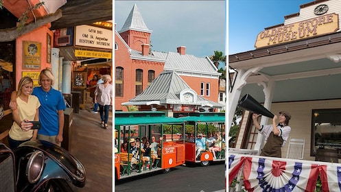 Combo image of a trolley tour, the History Museum and the Oldest Store in St Augustine