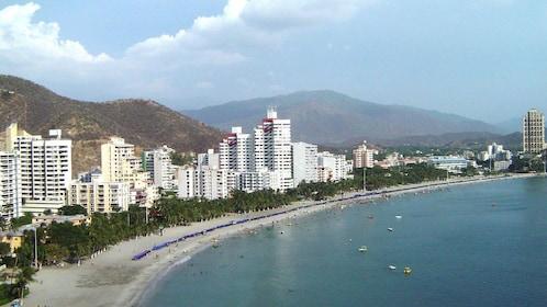 High rise buildings line the beautiful coastline of Santa Marta