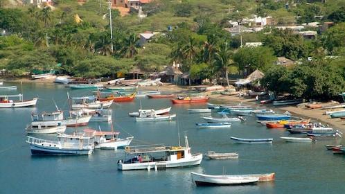 Boats anchored off the coast of Santa Marta