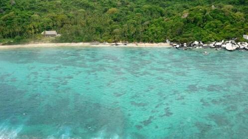Aerial view of Tayrona Park's coastline