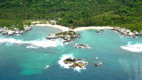Aerial view of the rocky coastline are of Tayrona Park