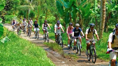 large group of cyclists riding on a narrow dirt trail in Bali