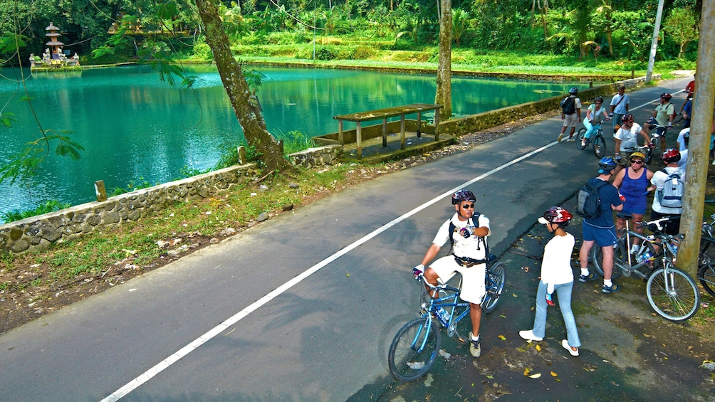 Show item 5 of 5. cyclists taking a break next to a village pond in Bali