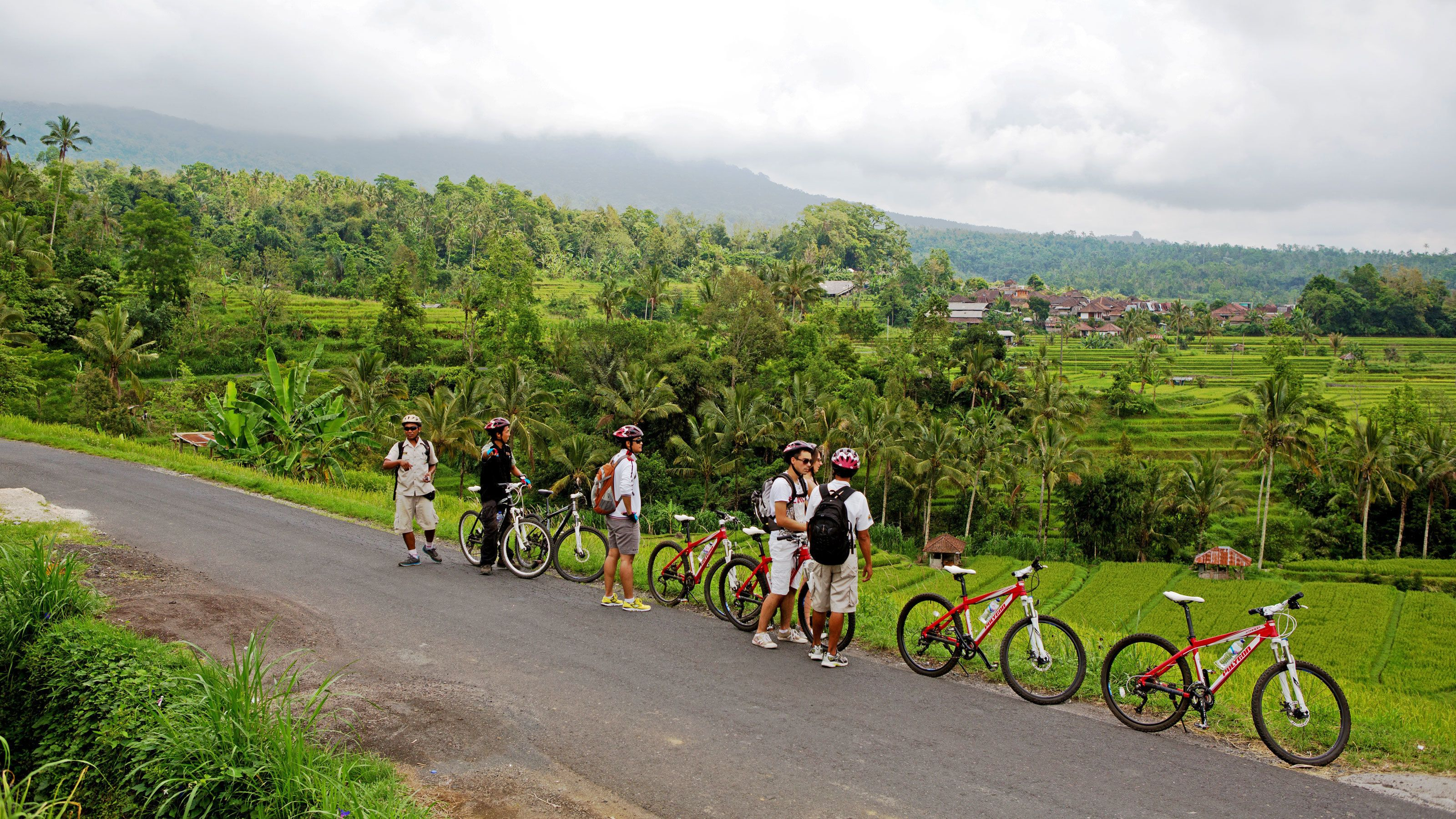 cyclists making a quick stop along the narrow road in Bali