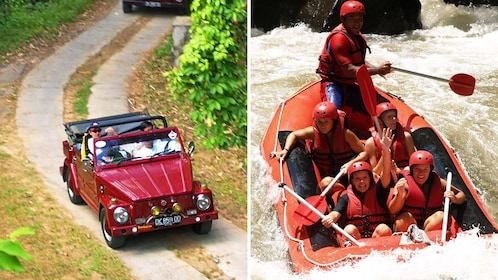 Combo image of VW Safari Tour and Whitewater rafting in Bali