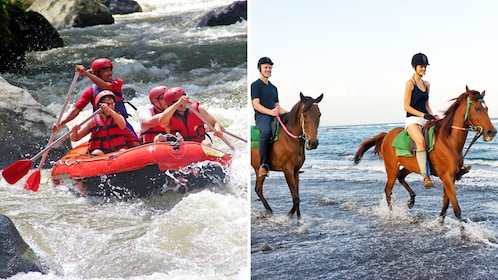 Combo image of whitewater rafting and horseback riding in Bali