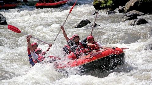 Rafters fighting intense rapids in Bali