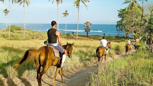 Horse riders walking through a narrow path to the beach in Bali