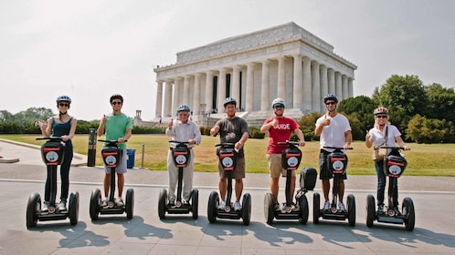 Segway riding group in front of monument in Washington DC