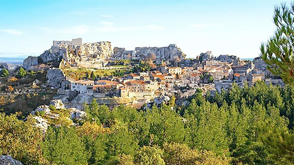 village built into the rocky landscape in Provence