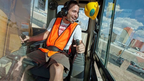 man learning how to operate a bulldozer in Las Vegas