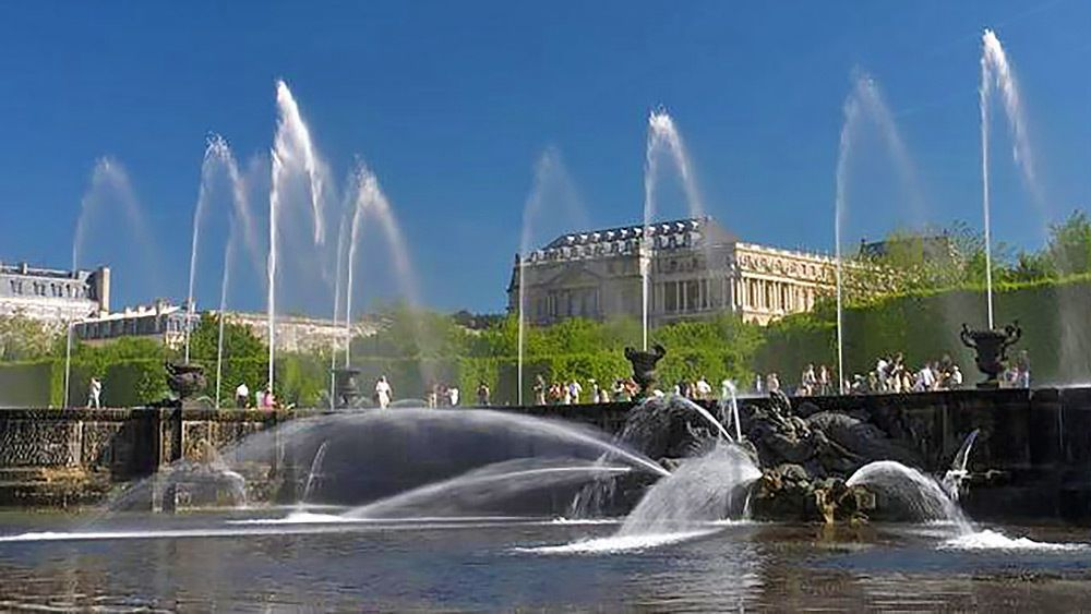 pond water fountain a the Palace of Versailles in Paris