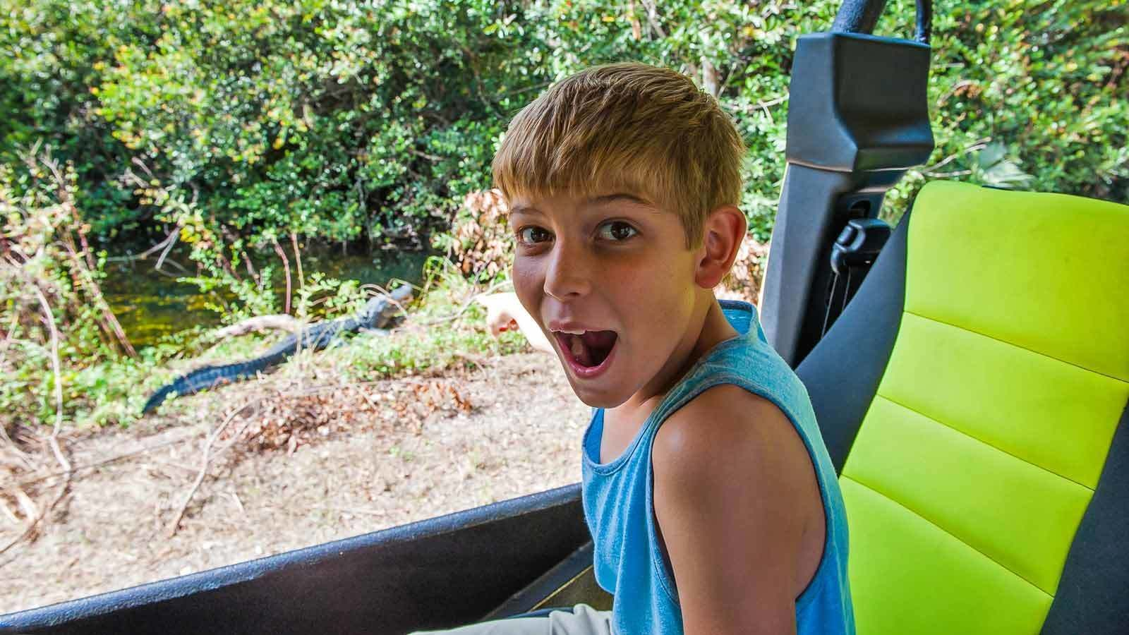 Boy excited about sights in Florida