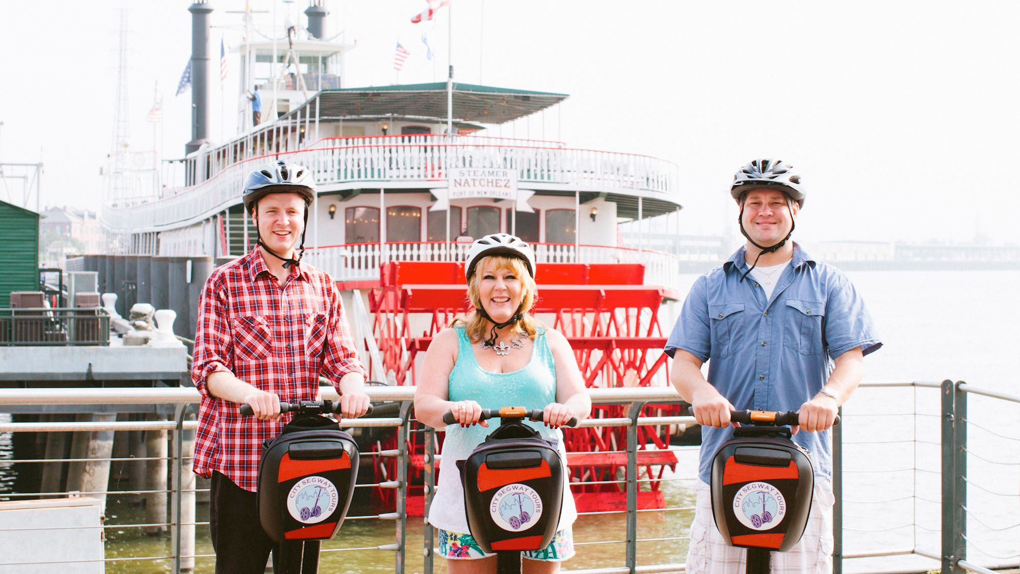 Three guests on a segway tour of New Orleans