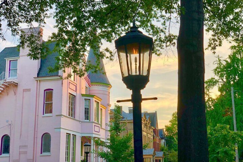Gas lamp in front of the Pink Palace