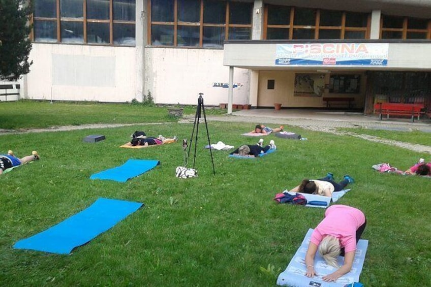 Show item 3 of 4. Yoga classes at the foot of Mont Blanc