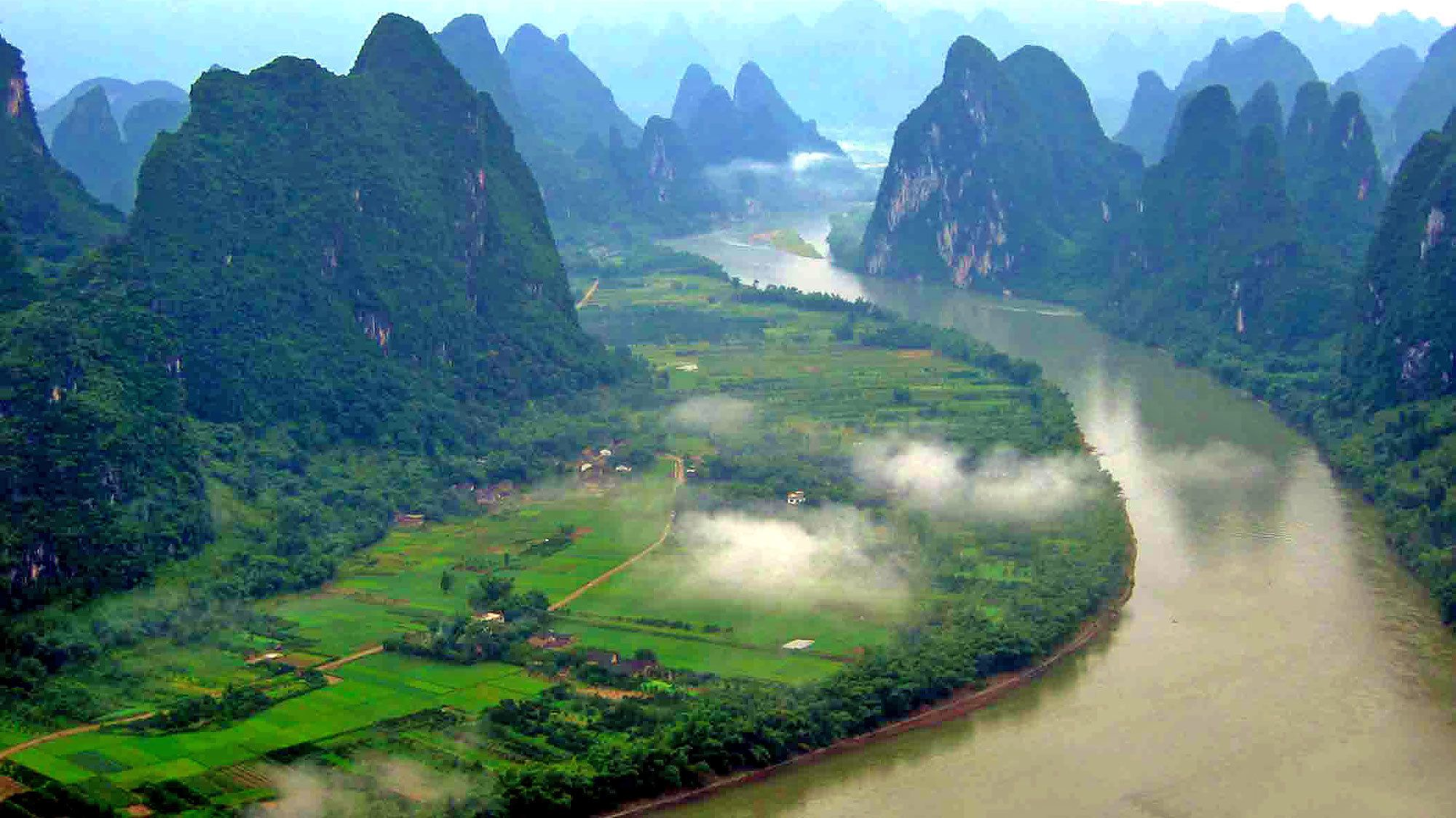 river channel between tall mountains in Guilin