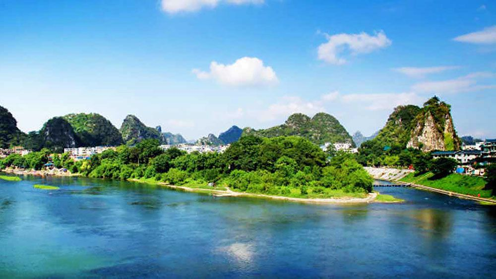beautiful mountains and river landscape in Guilin