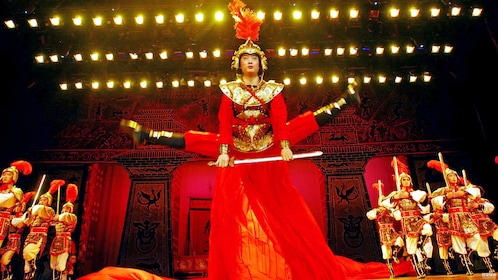 performers in warrior costumes in Xi'an
