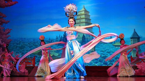 women performing dance with silk sleeves in Xi'an