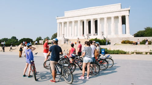 Bike tour in front of the Lincoln Memorial in Washington D.C.
