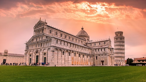 Sunset view of the Pisa Cathedral Square in Italy