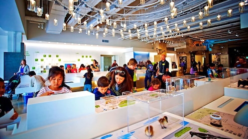 museum space packed with children at the Natural History Museum in Los Angeles
