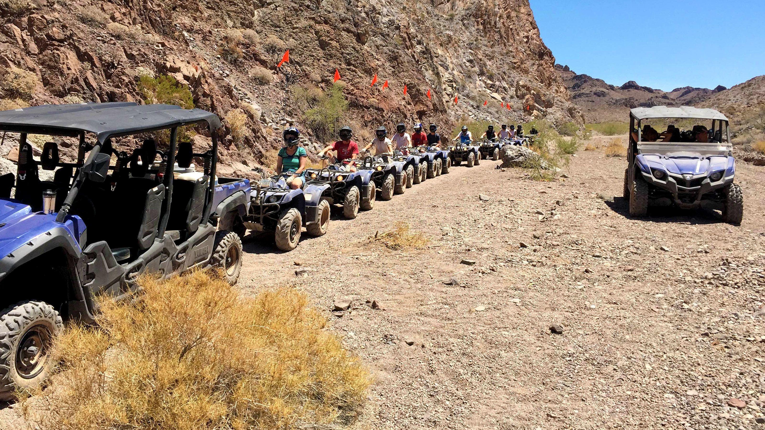 a long line of ATV in the desert in Las Vegas