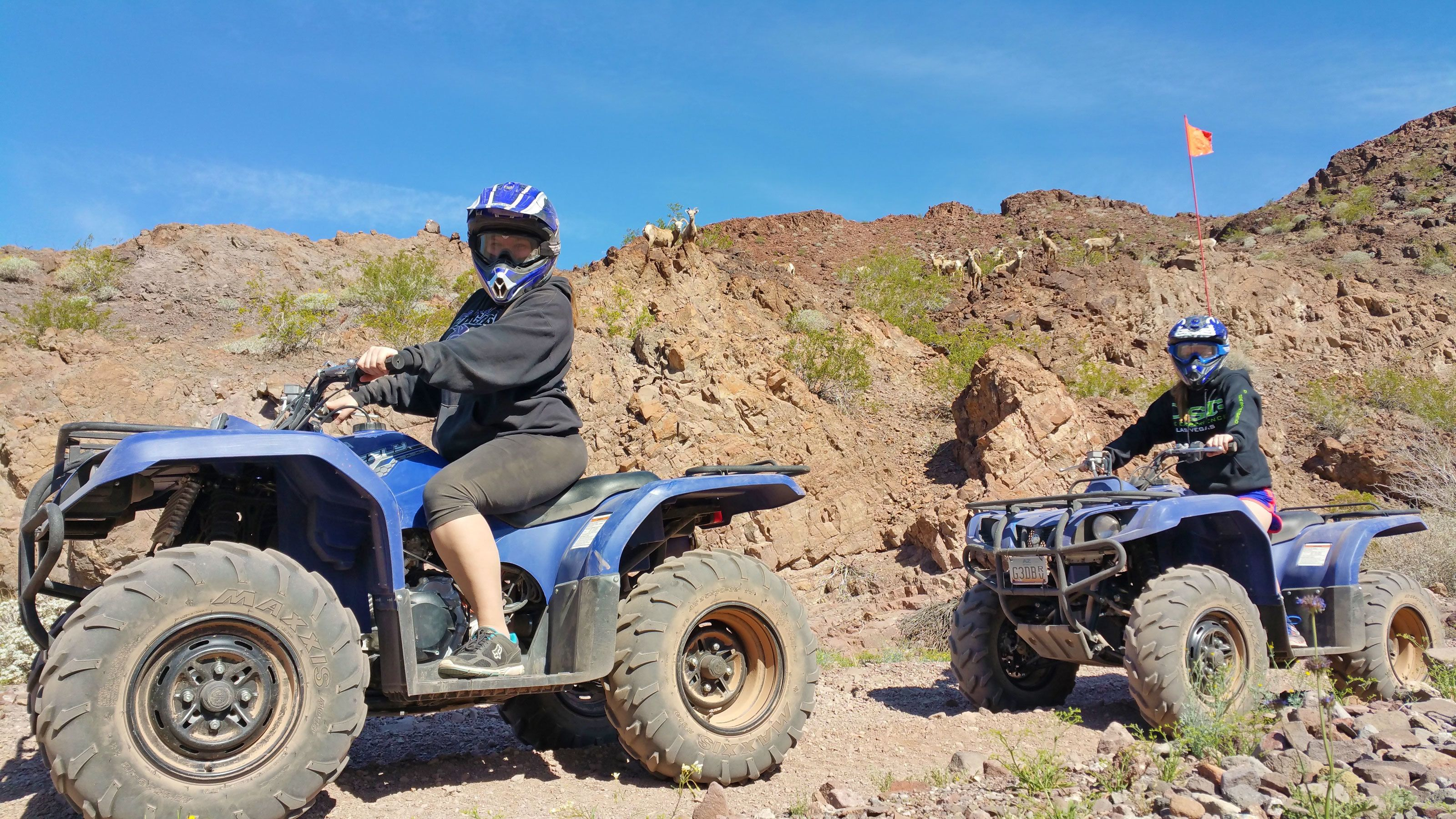 riding ATVs through the dry desert in Las Vegas