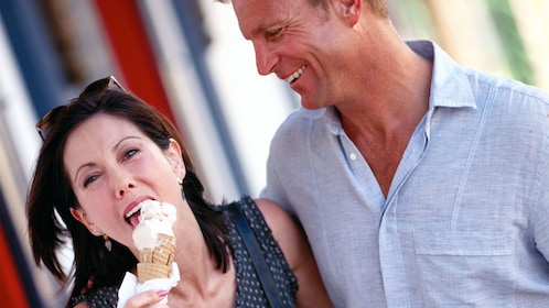 Couple tasting ice cream on the Granby Street Food Tour