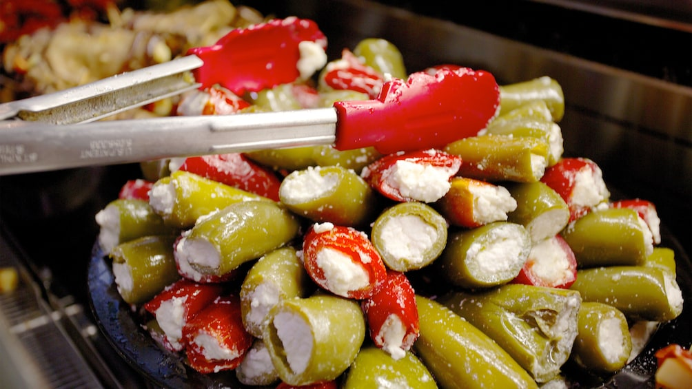 Show item 3 of 5. Stuffed olives at a market in Cleveland