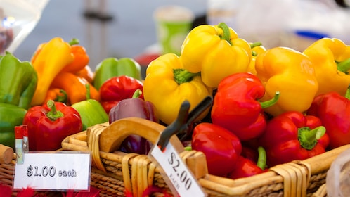 Colorful peppers at a market in Cleveland