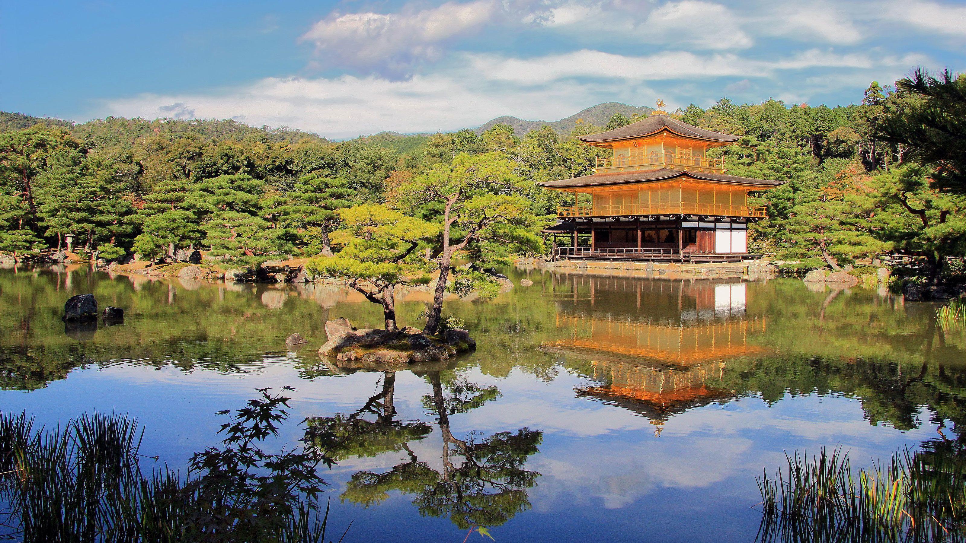Day view of Kinkaku-ji temple in Japan