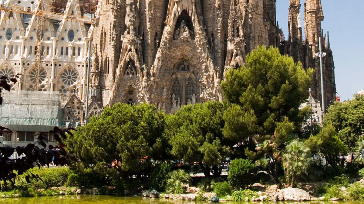 Close view of the Sagrada Família in Spain