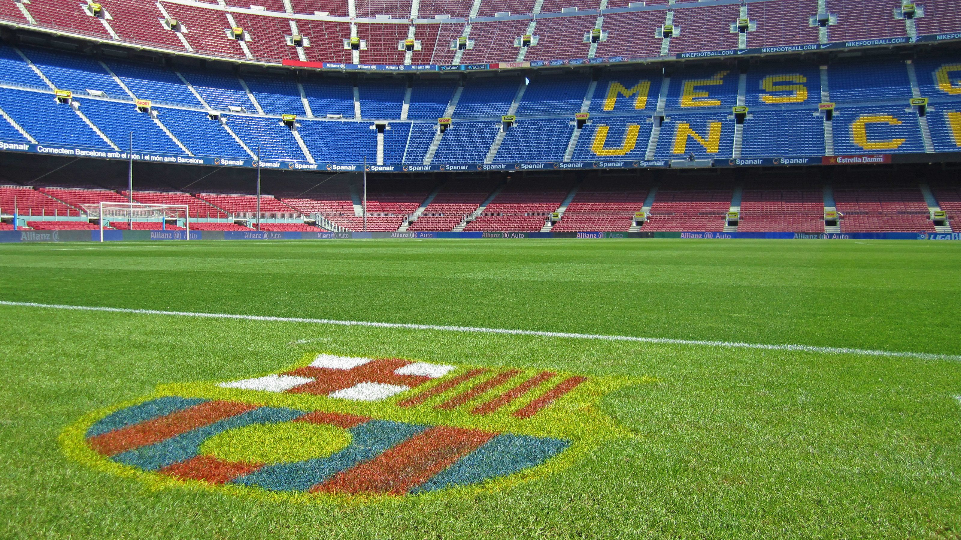 Field view of Camp Nou Stadium in Barcelona