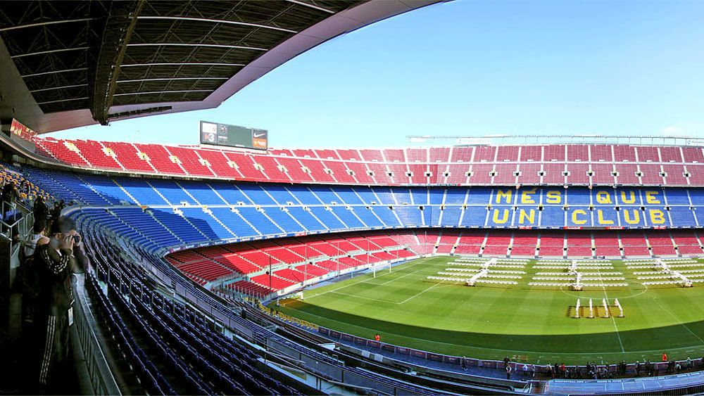View of the Camp Nou Stadium in Barcelona