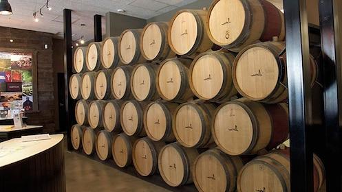 stacked wine barrels in california