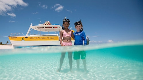 Kids snorkeling in the Turks and Caicos